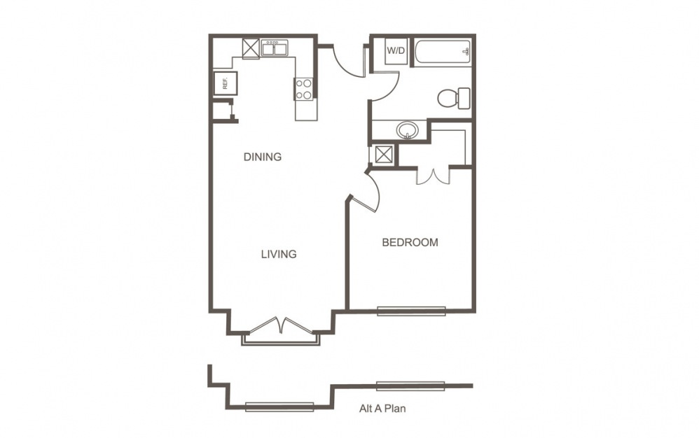 A - 1 bedroom floorplan layout with 1 bath and 650 square feet (1st floor 2D)