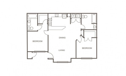 B - 2 bedroom floorplan layout with 2 bath and 972 square feet